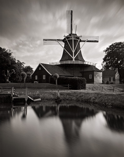 sunset white black holland reflection mill analog 4x5 100 12 nikkor overijssel xtol fomapan rijssen 9045 pelmolen