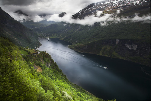 sea mountains norway clouds ship no fjord geiranger christianwilt