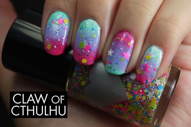 Rainbow Honey Summer of 199X Gradient Nail Art (with Rainbow Honey Special World)