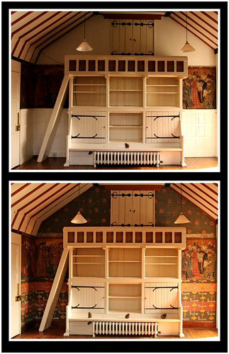 Before-and-after restoration, end wall of drawing room, Red House. (Image courtesy of Red House / National Trust.)