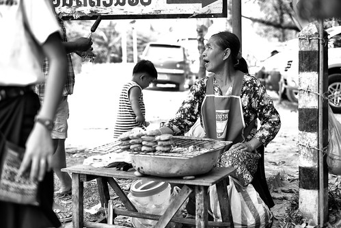 Snack vendor at Buddha Park, Vientiane, Laos. by daveweekes68