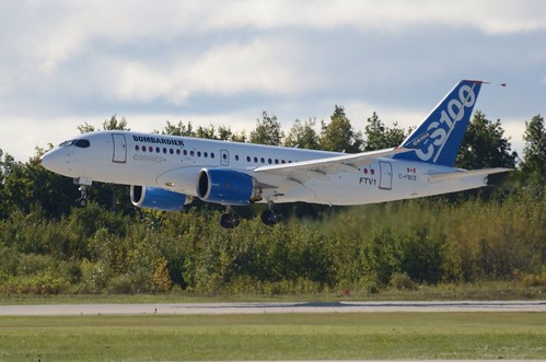 Bombardier's #CSeries left Mirabel at ~10:54am ET. First flight 1-2.5 hours.