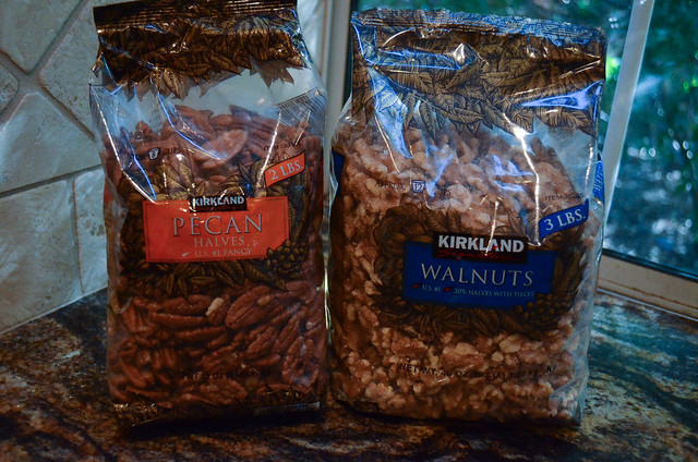 A bag of pecans and walnuts.