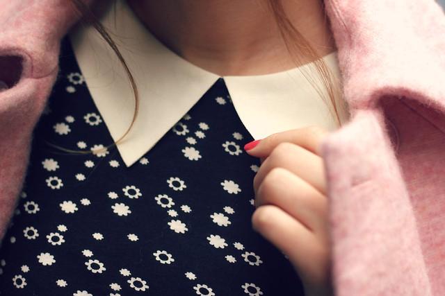 Orla Kiely black and white collar top