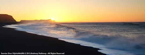 black beach sunrise iceland sand waves vik hjörleifshöfði