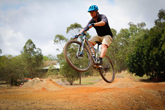 bmx bike(0.0), bmx racing(0.0), downhill(0.0), bicycle racing(1.0), mountain bike(1.0), bicycle motocross(1.0), soil(1.0), vehicle(1.0), mountain bike racing(1.0), sports(1.0), race(1.0), freeride(1.0), sports equipment(1.0), downhill mountain biking(1.0), cycle sport(1.0), extreme sport(1.0), cross-country cycling(1.0), cycling(1.0), mountain biking(1.0), bicycle(1.0),