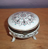 Vintage Porcelain Footed Dresser Box - Enameled Design