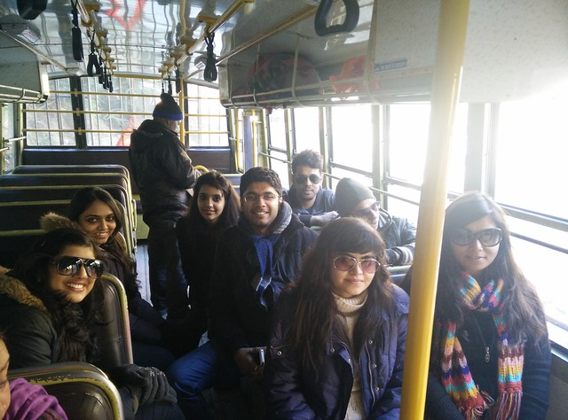 Travelling in a bus to Barshani. In the frame (L to R): Bani, Chinmayi, Charu, Satyen, Sounak, Priyam, Akanksha clicked by Akshay Maggu