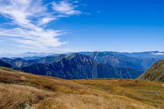 稜線の草紅葉越に万太郎山・仙ノ倉山・平標山・苗場山