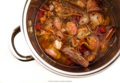 Preparing prawns vinaigrette. Ingredients in  maiz…