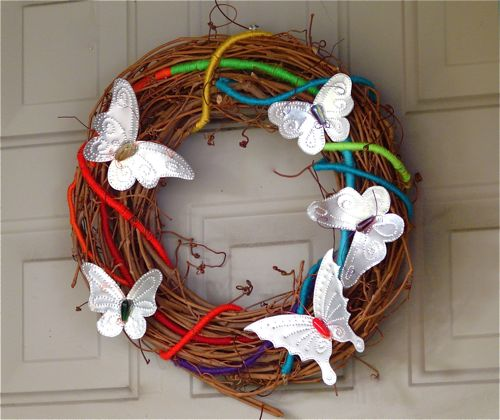 Grapoe vine wreath with Rainbows and Punched Tin Butterflies