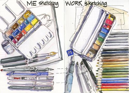120420 Me sketching vs Work Sketching by borromini bear