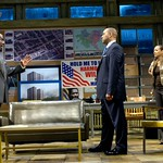 Roosevelt Hicks (James A. White, l.) and Mame Wilks (Michole Briana White, r.) warn Harmond Wilks (Hassan El-Amin) about the dangers of not following through on business and political plans in the Huntington Theatre Company's production of August Wilson's <i>Radio Golf</i> at the Boston University Theatre. Part of the 2006-2007 season. Photo: Eric Antoniou.