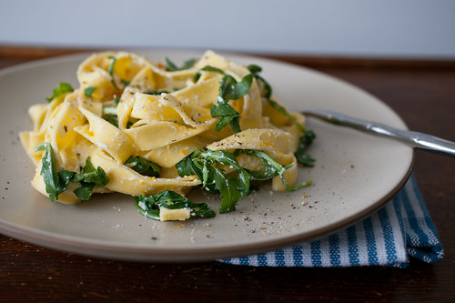 pasta with meyer lemon, ricotta, arugula, and bottarga