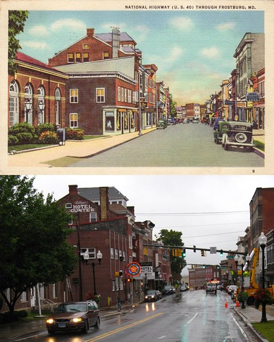 road street postcard maryland frostburg us40 thennow nationalroad nowthen