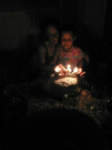 Daisy and I blowing out the candles on our cake