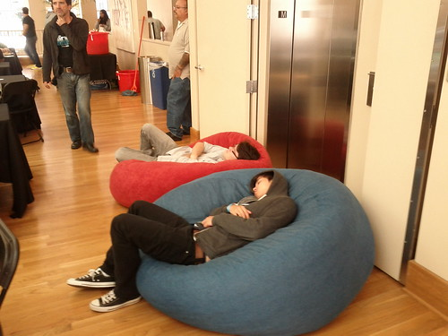 Two hackers at the Xhack hackathon passed out