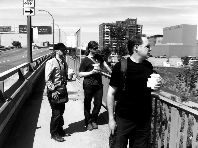 Aidan, Geof, and Drew on a bridge