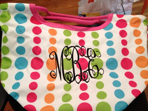 Polka Dot Tote with Monogram