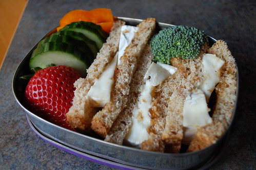 very messy goat brie sandwich vegetarian bento