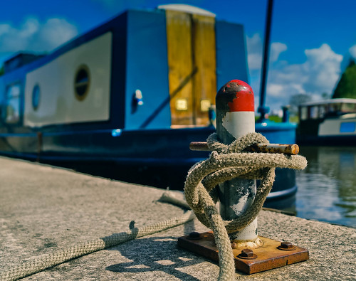 Close up of a barge tied to a mooring
