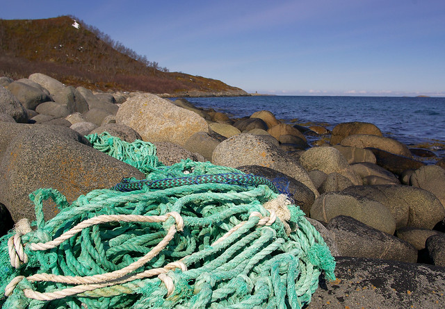 Marine litter. Stranded rope knot and fish net remains.