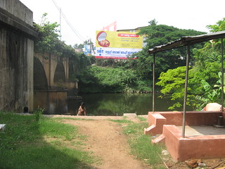 The Karamana bridge and the bathing ghats at the river sideidge