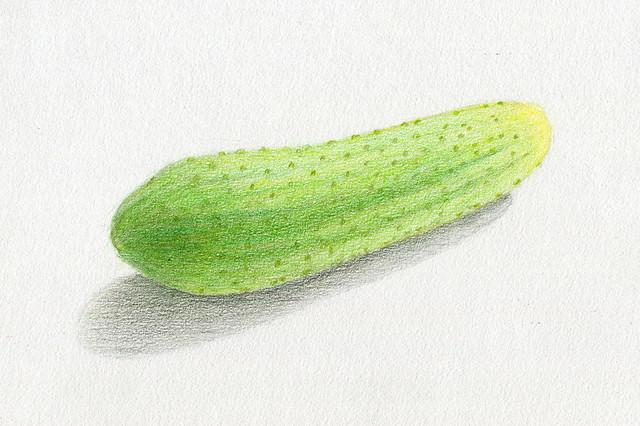 cucumber, crayons