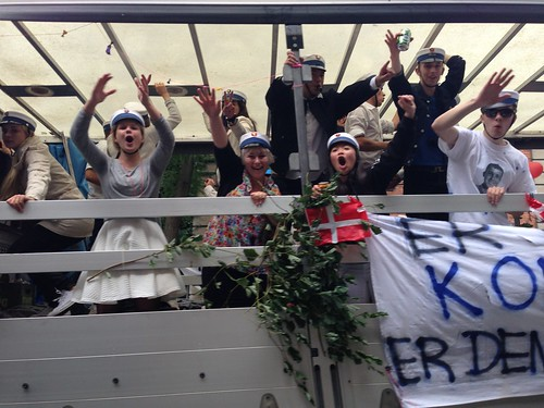 Danish High School Students Cheer during Graduation Ritual Truck Drives around Copenhagen