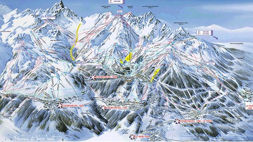 Courchevel - mapa sjezdovek