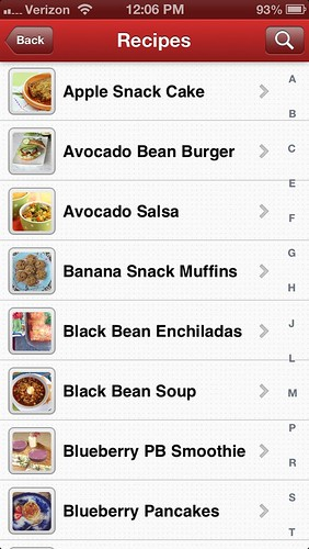 Screen shot from Meal Makeovers recipe app
