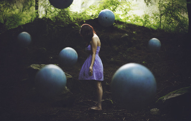 girl, purple, baloon, photo, manipulation