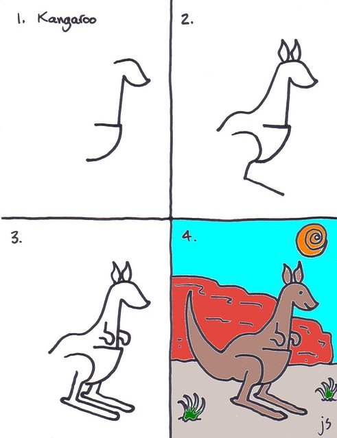 How to draw a kangaroo for kids art for kids - Dessiner un kangourou ...