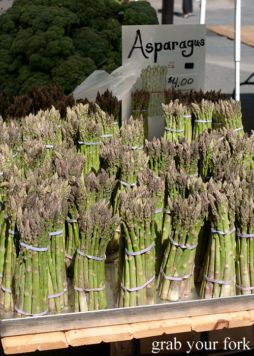 fresh asparagus bunches at union square greenmarket farmers market nyc new york usa