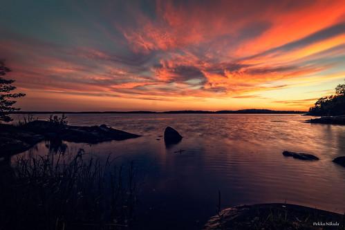 sunset lake water finland ilta mökki auringonlasku näsijärvi selkäsaari