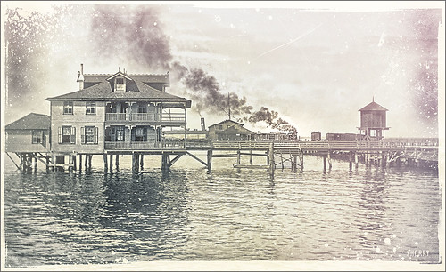 Image called House on the Water from Shorpy Historical Photo Archive site with vintage effect added