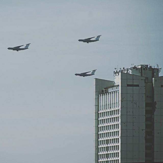 Воздушная репетиция Парада Победы