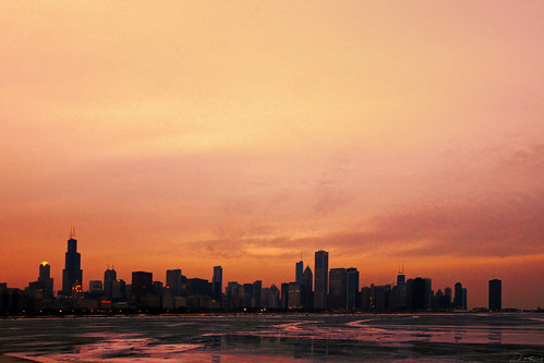 Freezing Sunset Over The Windy City