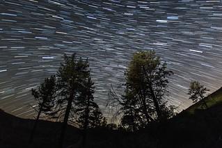 Star trails above Skyline Drive in Mount Laguna