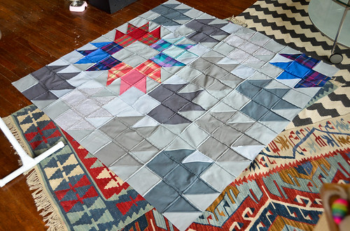 Back of Modern Bear Paw Quilt Top