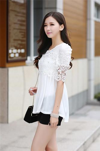 2015 Summer Fashion Womens Elegant Elbow Sleeve Tee Crochet Tunic Chiffon Top Plus Size 30