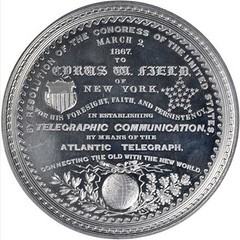 1867 Cyrus Field Atlantic Cable Medal. reverse