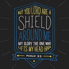 But you, O Lord , are a shield about me, my glory, and the lifter of my head. Psalms 3:3 ESV