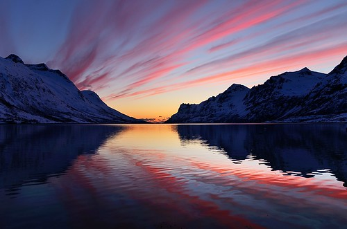 sunset seascape reflection nature water colors clouds landscape troms ersfjordbotn nikkor1685dx nikond7000 pwpartlycloudy