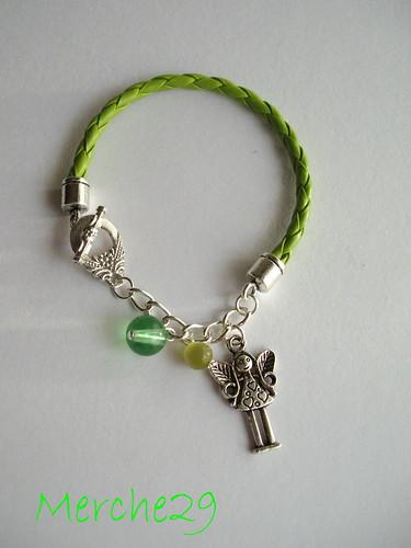 pulsera cuero trenzado y fornituras de metal by llaverito1979