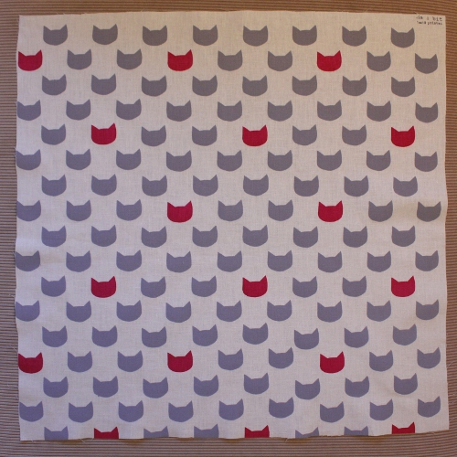 grey kitty cats - fuschia fat quarter screen print