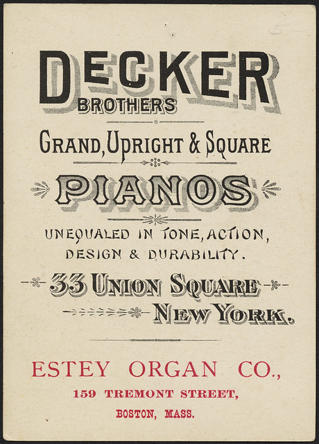 Photo:Decker Brothers Matchless Pianos, 33 Union Square, N. Y. (back) By Boston Public Library
