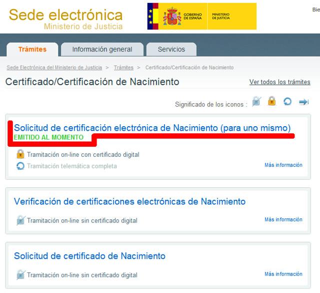 Solicitud de certificación electrónica de Nacimiento (para uno mismo)