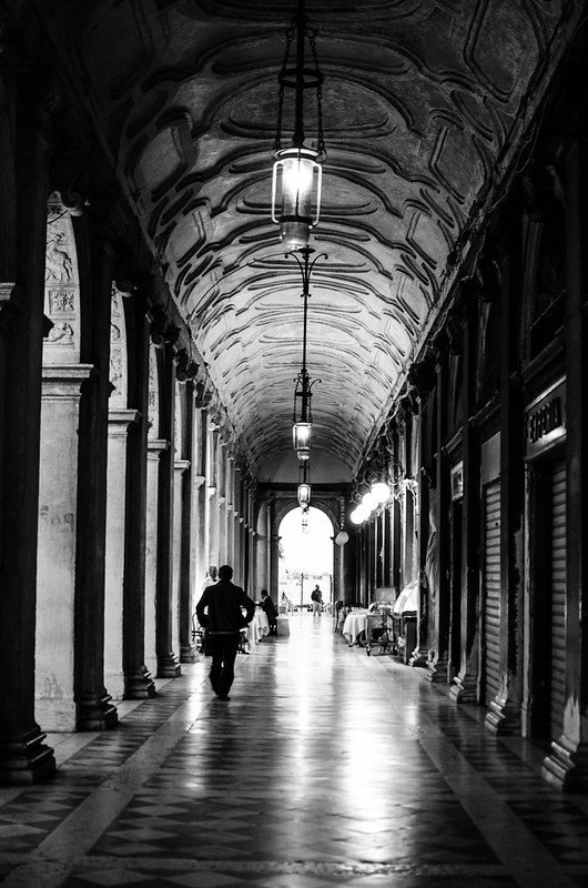 The arcade to the water from St. Mark's Square in Venice.