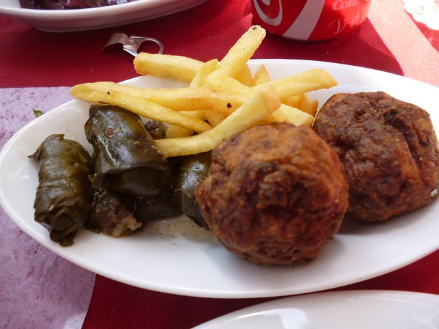 Falafel and vine leaves